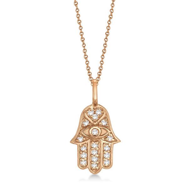 Diamond Hamsa Pendant Necklace 14k Rose Gold (0.16ct)