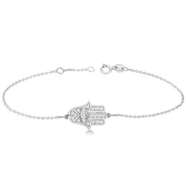 Diamond Hamsa Chain Bracelet 14k White Gold (0.16ct)