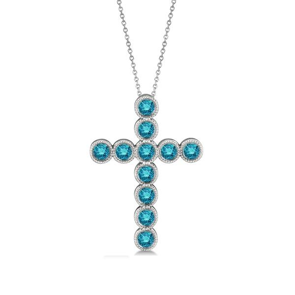 Blue Diamond Cross Pendant Necklace 14k White Gold (1.57ct)