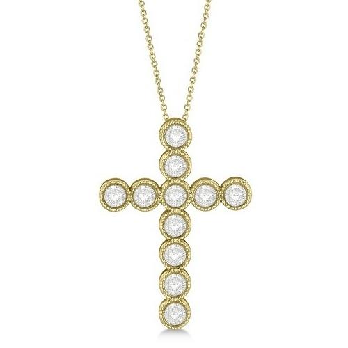 Diamond Cross Pendant Necklace 14k Yellow Gold (0.34ct)