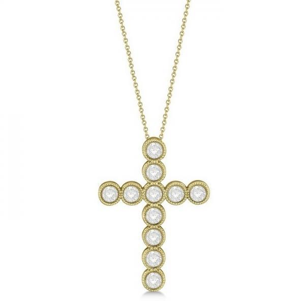 Diamond Cross Pendant Necklace 14k Yellow Gold (1.09ct)