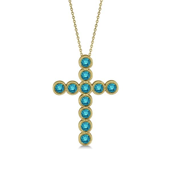 Blue Diamond Cross Pendant Necklace 14k Yellow Gold (1.57ct)