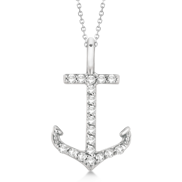 Anchor Diamond Pendant Necklace 14K White Gold (0.10ct)