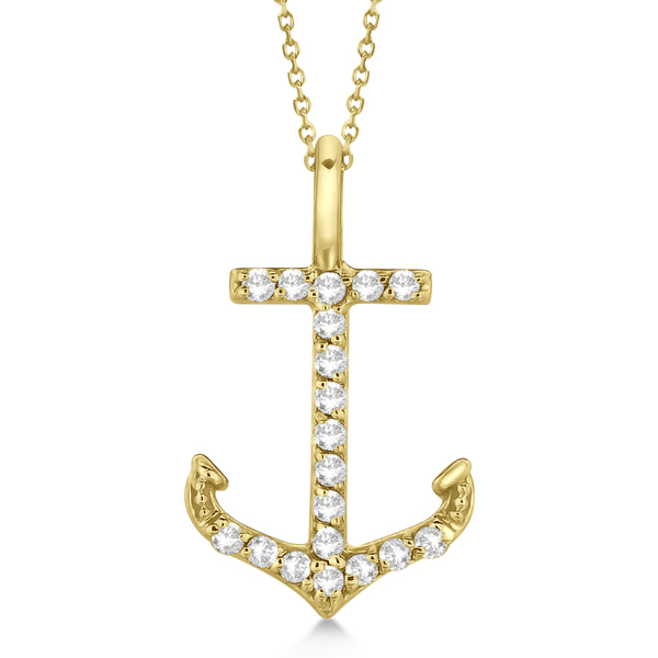Anchor Diamond Pendant Necklace 14K Yellow Gold (0.10ct)