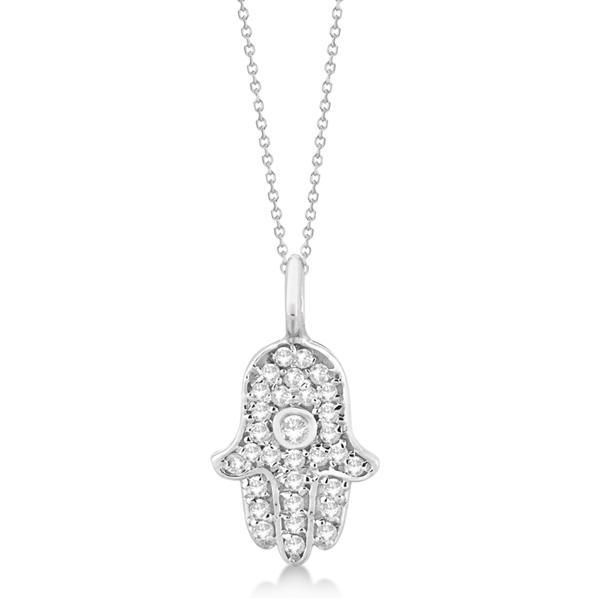 Diamond Hamsa Hand Pendant Necklace 14K White Gold (0.17ct)