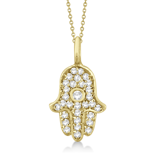 Diamond Hamsa Hand Pendant Necklace 14K Yellow Gold (0.17ct)