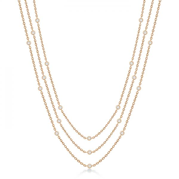 Three-Strand Diamond Station Necklace in 14k Rose Gold (1.40ct)