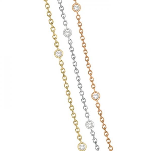 Three-Strand Diamond Station Necklace in 14k Three-Tone Gold (1.40ct)