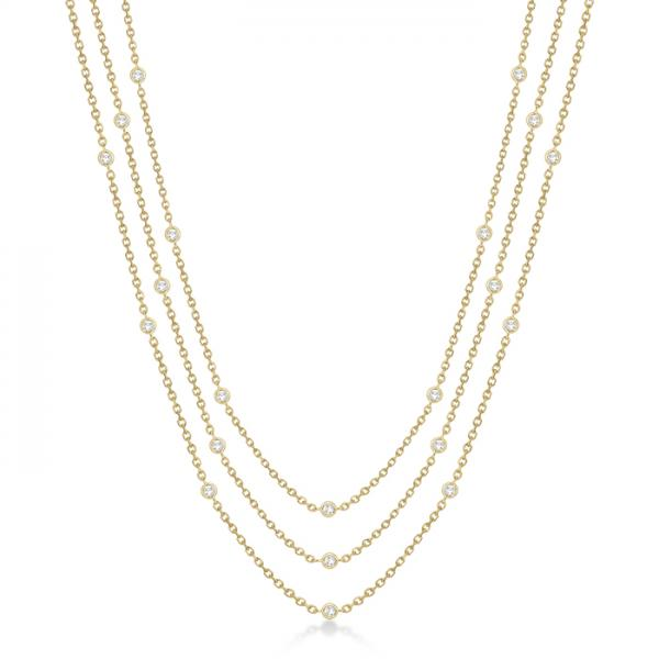 Three-Strand Diamond Station Necklace in 14k Yellow Gold (4.50ct)