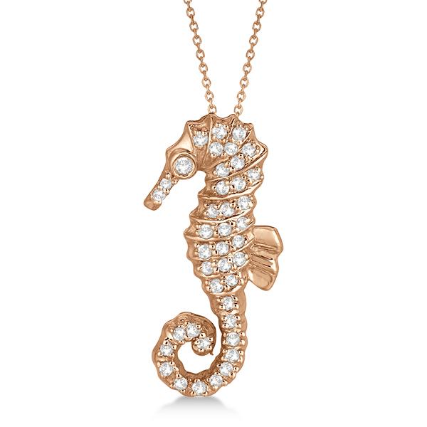 Diamond Seahorse Pendant Necklace 14k Rose Gold (0.29ct)