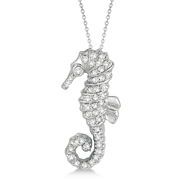 Diamond Seahorse Pendant Necklace 14k White Gold (0.29ct)
