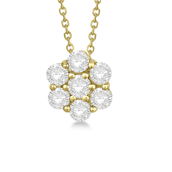 Cluster Diamond Flower Pendant Necklace 14K Yellow Gold (0.33ct)
