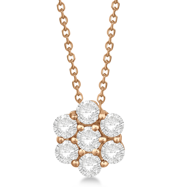 Cluster Diamond Flower Pendant Necklace 14K Rose Gold (0.50ct)