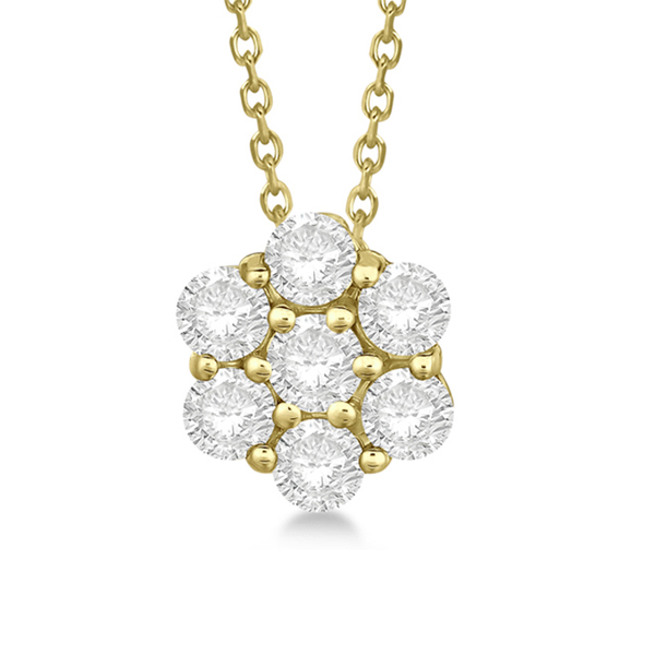 Cluster Diamond Flower Pendant Necklace 14K Yellow Gold (0.50ct)