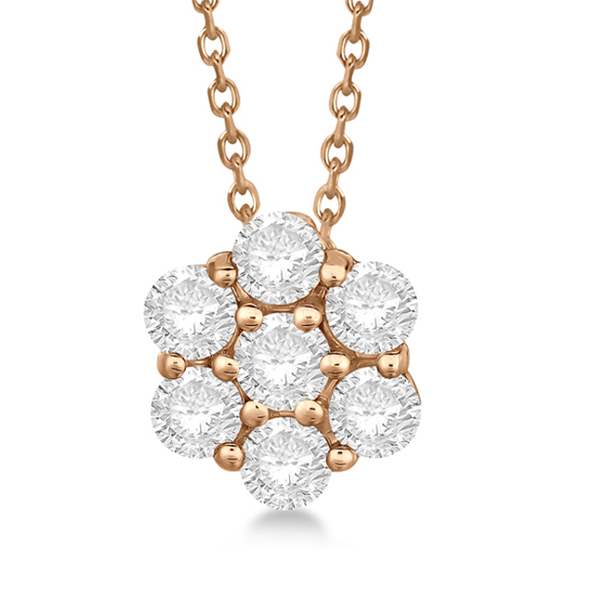 Cluster Diamond Flower Pendant Necklace 14K Rose Gold (1.00ct)