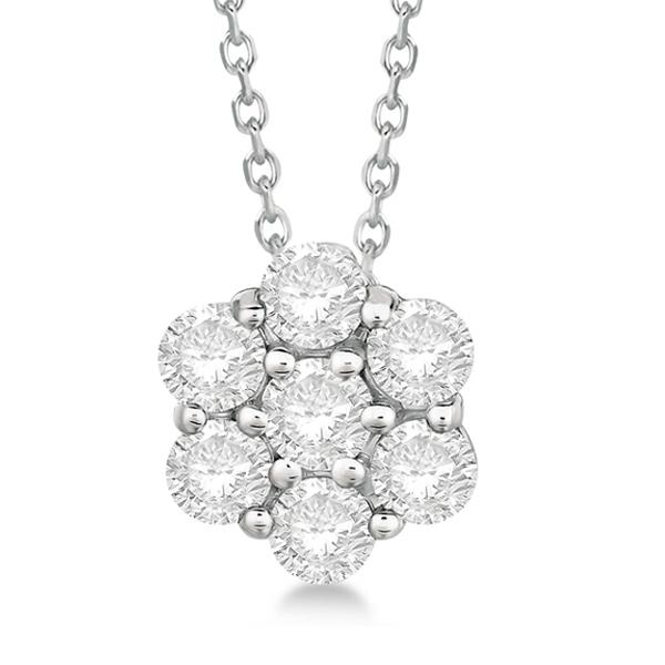 Cluster diamond flower pendant necklace 14k white gold 150ct ip296 cluster diamond flower pendant necklace 14k white gold 150ct aloadofball Gallery