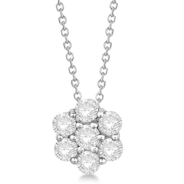 Cluster Diamond Flower Pendant Necklace 14K White Gold (1.50ct)
