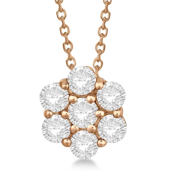 Cluster Diamond Flower Pendant Necklace 14K Rose Gold (1.75ct)