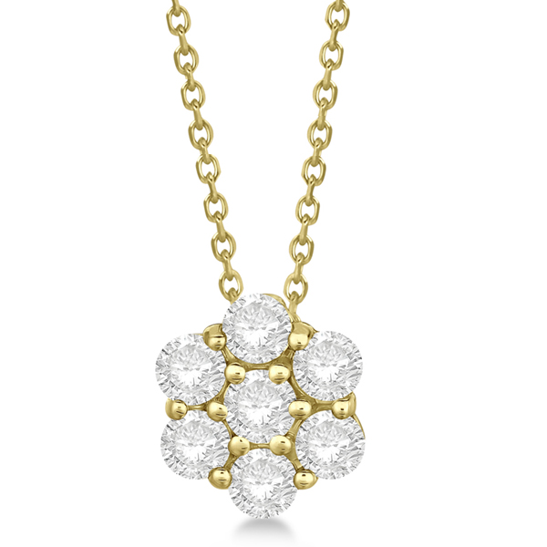Cluster Diamond Flower Pendant Necklace 14K Yellow Gold (1.75ct)