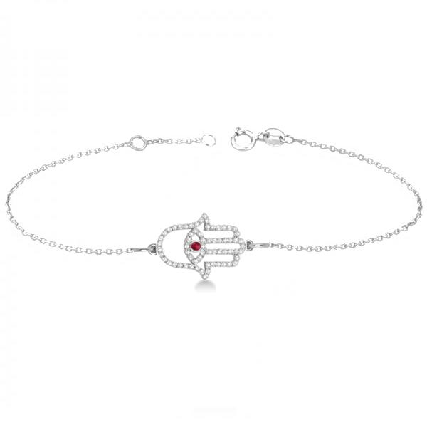 Diamond & Ruby Hamsa Evil Eye Chain Bracelet 14k White Gold (0.51ct)
