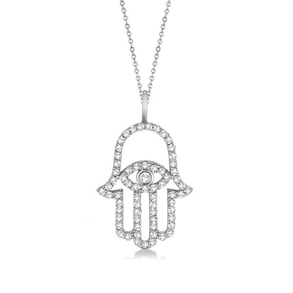 Diamond Hamsa Evil Eye Pendant Necklace 14k White Gold (0.51ct)
