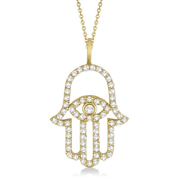 Diamond Hamsa Evil Eye Pendant Necklace 14k Yellow Gold (0.51ct)