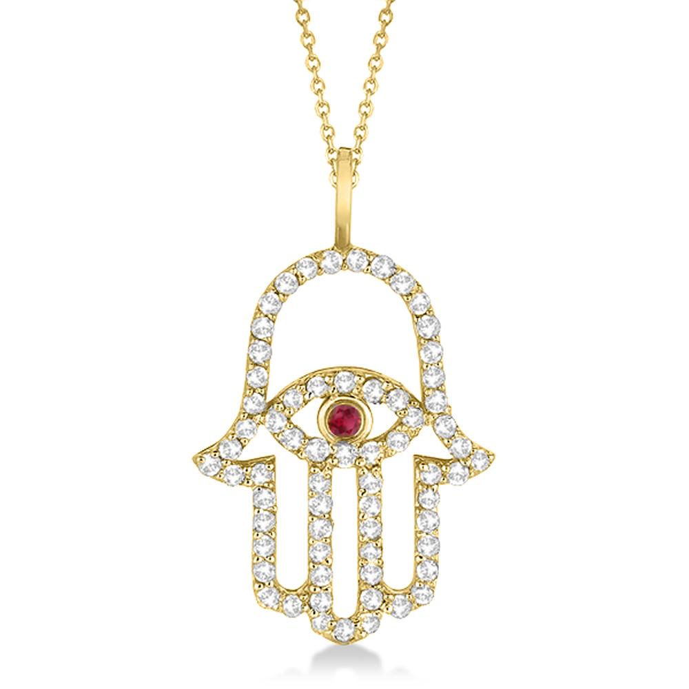diamond ruby hamsa evil eye pendant necklace 14k yellow. Black Bedroom Furniture Sets. Home Design Ideas