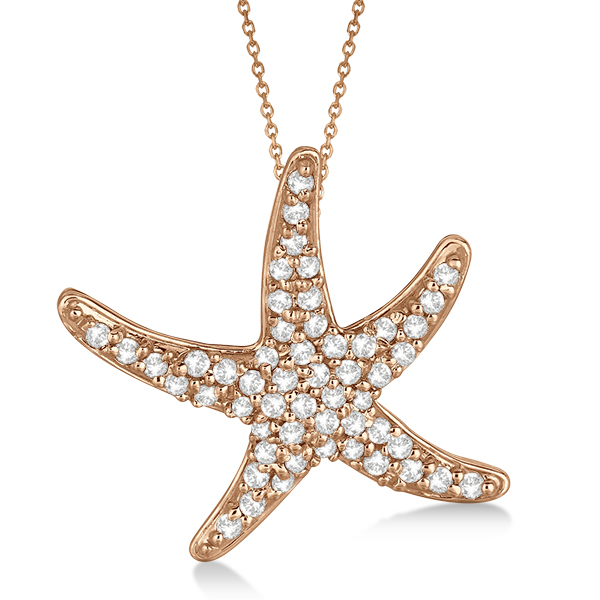 Diamond Starfish Pendant Necklace 14k Rose Gold (0.55ct)