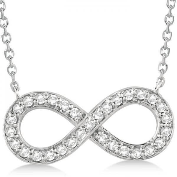 Infinity Diamond Pendant Necklace Pave Set 14k White Gold (0.37ct)