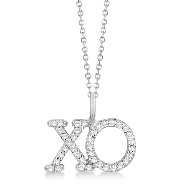 Diamond XO Pendant Necklace Hugs and Kisses 14K White Gold (0.20ct)