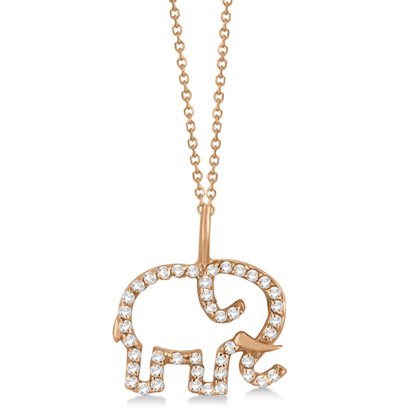 Elephant Diamond Pendant Necklace 14K Rose Gold (0.22ct)