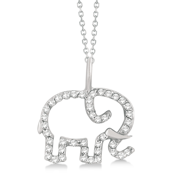 Elephant Diamond Pendant Necklace 14K White Gold (0.22ct)