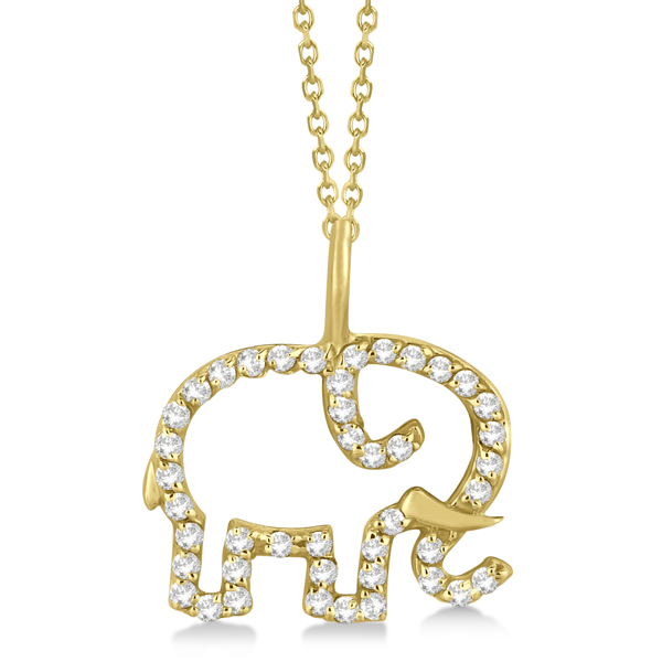 Elephant Diamond Pendant Necklace 14K Yellow Gold (0.22ct)