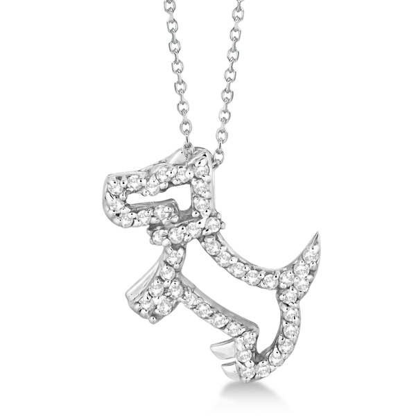 Animal jewelry designer jewelry nature jewelry allurez diamond dog pendant necklace pave set 14k white gold 022ct aloadofball Gallery