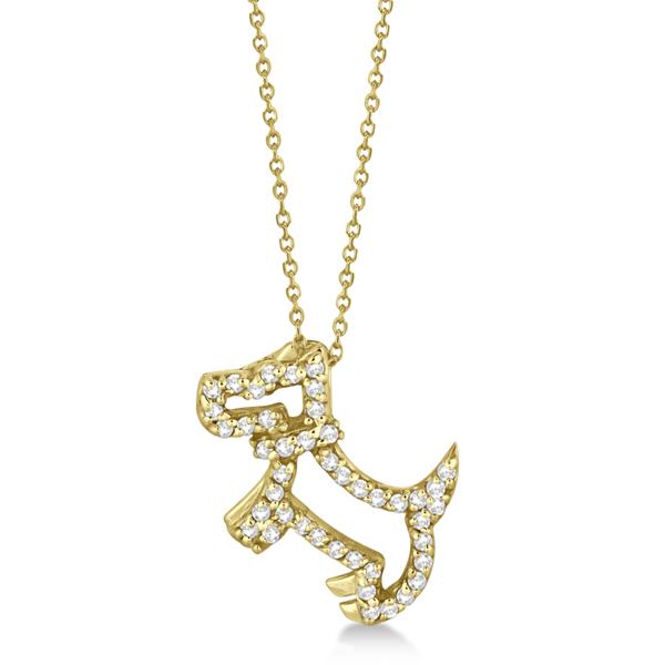 Diamond Dog Pendant Necklace Pave-Set 14K Yellow Gold (0.22ct)