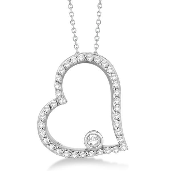 Bezel Set Diamond Open Heart Pendant Necklace 14K White Gold (0.34ct)