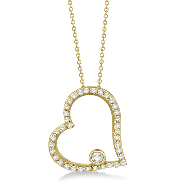 Bezel Set Diamond Open Heart Pendant Necklace 14K Yellow Gold (0.34ct)