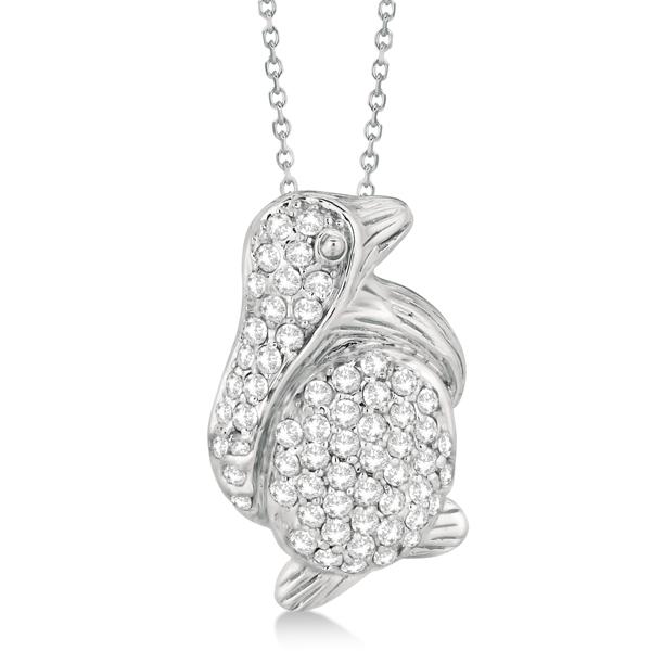 Pave Diamond Penguin Pendant Necklace 14K White Gold (0.61ct)