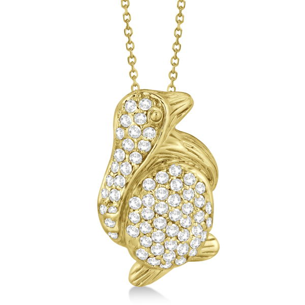 Pave Diamond Penguin Pendant Necklace 14K Yellow Gold (0.61ct)