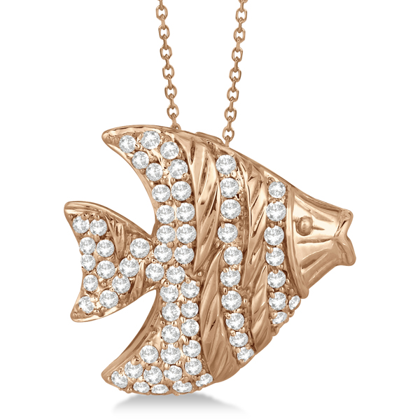 Pave Diamond Fish Pendant Necklace 14K Rose Gold (0.64ct)