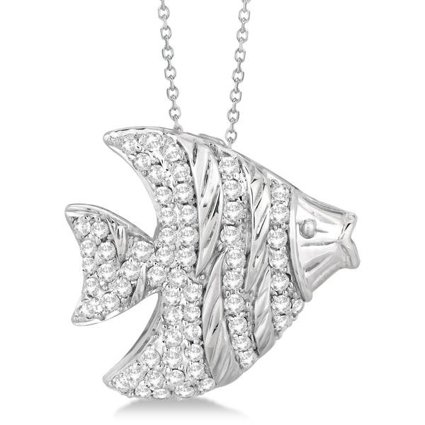 Pave Diamond Fish Pendant Necklace 14K White Gold (0.64ct)