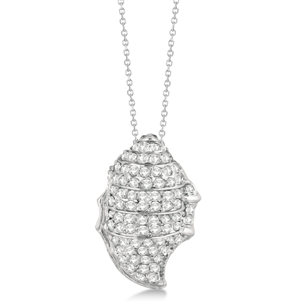 Pave Diamond Spiral Shell Pendant Necklace 14K White Gold (0.92ct)