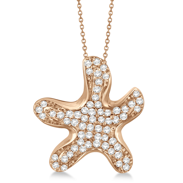 Pave Diamond Starfish Pendant Necklace 14K Rose Gold  (0.62ct)