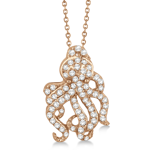 Pave Diamond Octopus Pendant Necklace 14K Rose Gold (0.61ct)