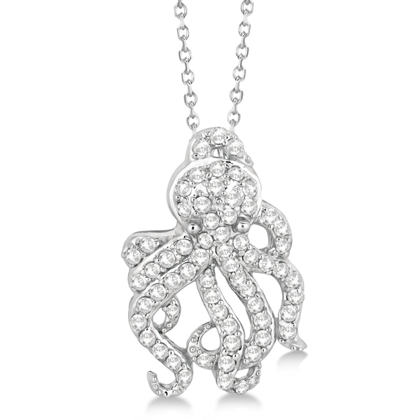 Pave Diamond Octopus Pendant Necklace 14K White Gold (0.61ct)