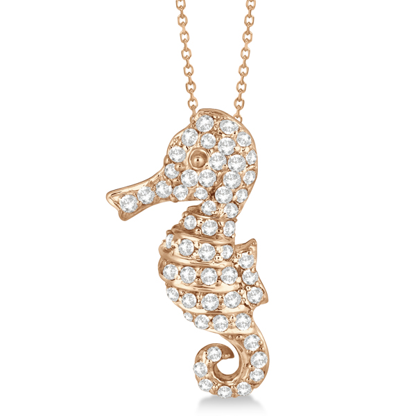Pave Diamond Seahorse Pendant Necklace 14K Rose Gold (0.64ct)