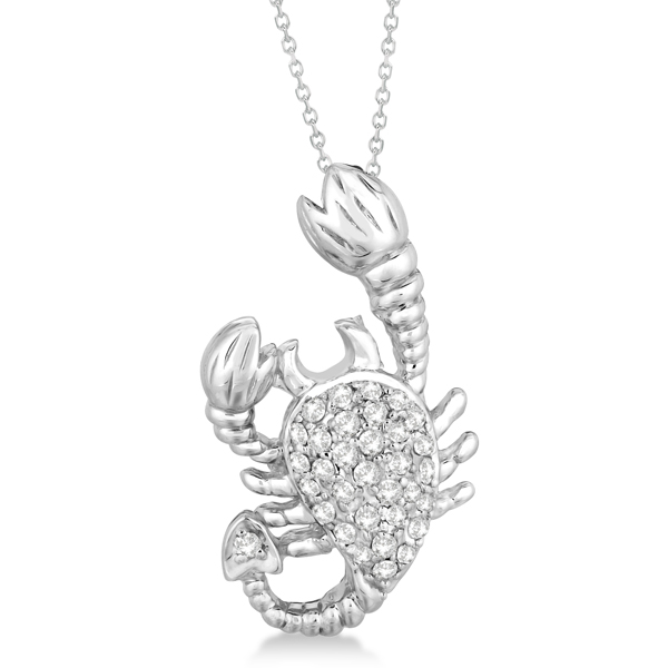 Pave Diamond Scorpion Pendant Necklace 14K White Gold (0.33ct)