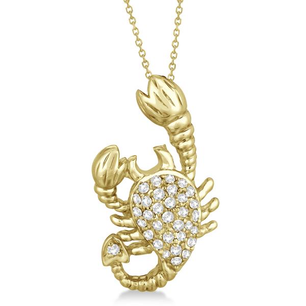 Pave diamond scorpion pendant necklace 14k yellow gold 033ct pave diamond scorpion pendant necklace 14k yellow gold 033ct mozeypictures Images