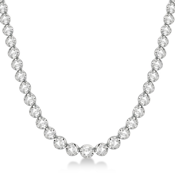 Eternity Diamond Tennis Necklace 14k White Gold (10.35ct)