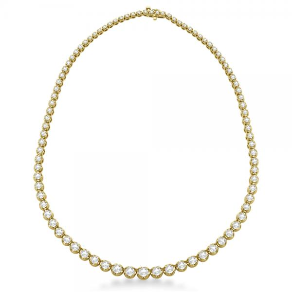 Eternity Diamond Tennis Necklace 14k Yellow Gold (10.35ct)